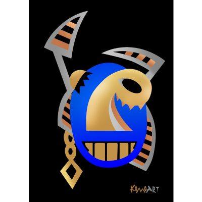 דמות אפריקאית כחולה